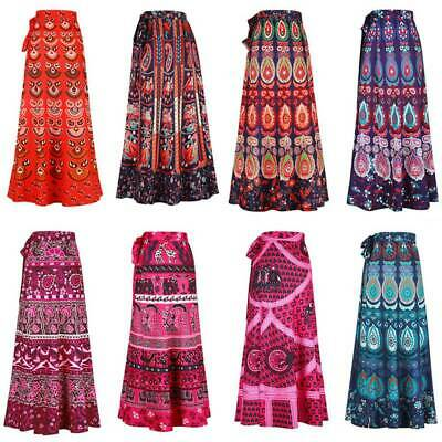 5a6e7e5850 Women's Ethnic Floral Rapron Printed Cotton Long Skirt Wrap Indian Around  Skirt