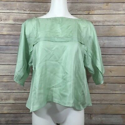 b0b64ba9f59ba SEE By CHLOE Silk Blouse SZ US 4 Green High Low LOOSE BOXY Short Sleeve  Casual