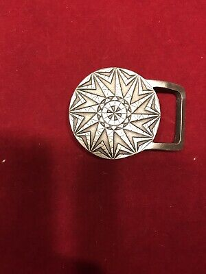 Vintage 1976 Indiana Metal Craft Circle Pattern Belt Buckle