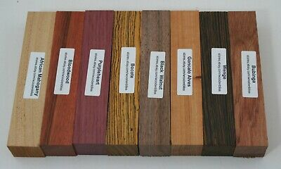 "8 Over Sized Exotic Wood Pen Blanks 1""x5""  Bloodwood, Bocote, Bubinga OS-1"