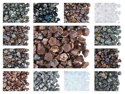 CHOOSE COLOR! 50pcs Flower Cup Beads 7x5mm, Czech Glass Pressed Glass