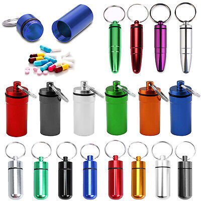 Mini Aluminum Alloy Medicine Storage Bottle Waterproof Pill Box Case Keychain US