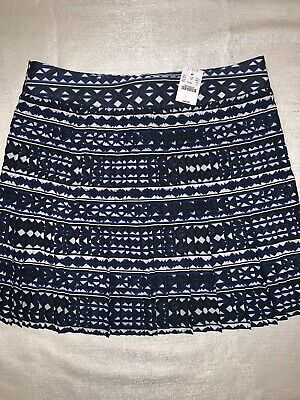 fd462f227 J Crew Factory Printed Pleated Skirt Black Blue White Size 10 Nwt~Msrp$98