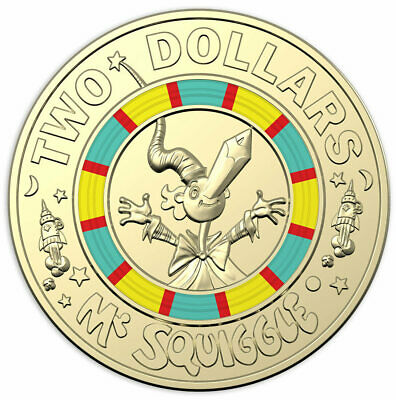 """2019 Mr Squiggle & Friends """"Squiggle"""" $2 Two Dollar Coin (UNC) Great Gift"""
