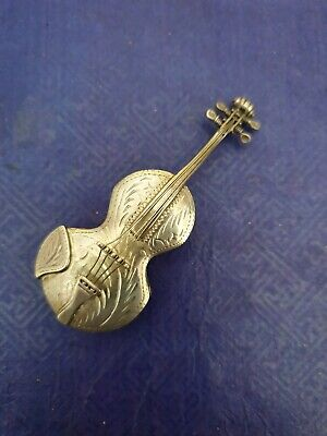 Exquisite Sterling Silver violin Pill Box Container antique