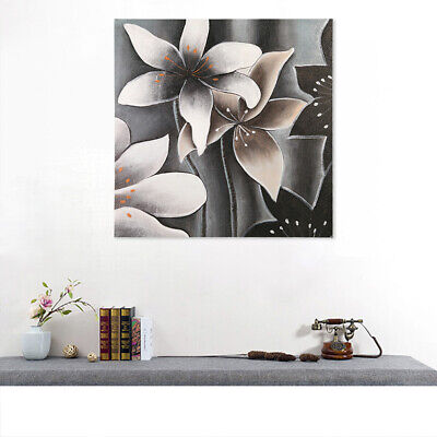 Modern Abstract Hand-painted Art Oil Painting Silver Flowers On Canvas Framed