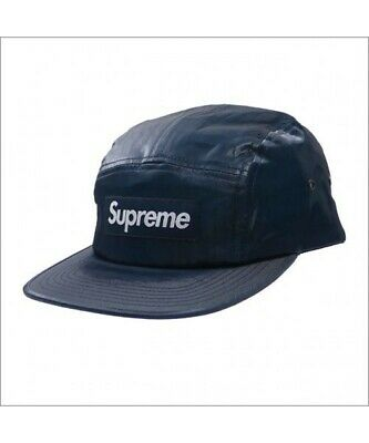 ca7ac144 WORN Supreme 18SS BOX LOGO Coated Linen Camp Cap box logo shiny coating cap  Navy