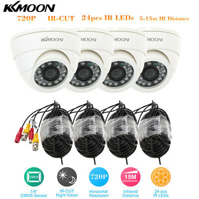 KKmoon 4pcs 720P Waterproof Bullet CCTV Camera 4*60ft Cable Kit 3.6mm Lens S0V2