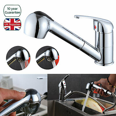 Black Modern Mono Kitchen Mixer Tap with Pull Out Hose Spray Single Lever Chrome