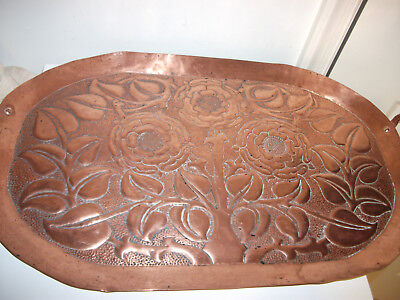 Hammered Copper Vintage Extra Large Tray W/Handles Beautiful Intricate Design
