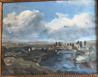 Lovely small Modernist landscape, British or French, circa 1920s or 1930s
