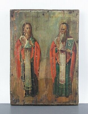 Antique Icon St Harlampy and Blasius Orthodox Russian Empire Wood Oil 180x130mm