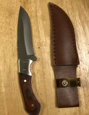 """9""""M-Tech WOOD HANDLE HUNTING Survival W/Leather Sheath Tactical Fixed Blade"""
