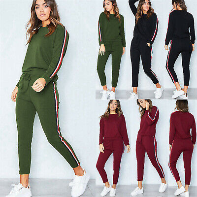 Womens 2PC Tracksuits Set Loungewear Ladies Activewear Tops Suit Pant Plus Size