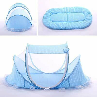 Blue Foldable Infant Baby Mosquito Net Travel Cot Tent Cradle Bed Pillow -NA01