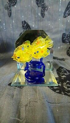 Brand New home sweet home decorative glass collectable tropical fish.Yellow Fish