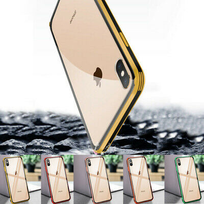 For iPhone X XR XS MAX 8 TPU Soft Bumper Clear Glass Hard Back Hybrid Case Cover