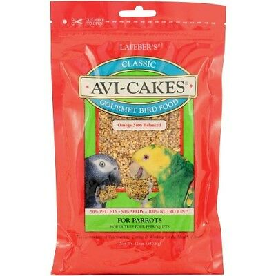 New Larger Pack:  Lafeber Original Avi Cakes Gourmet Parrot Food 340G