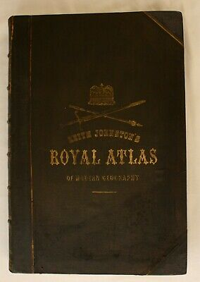 Johnston The Royal Atlas of Modern Geography Blackwood 1876 VG 3rd