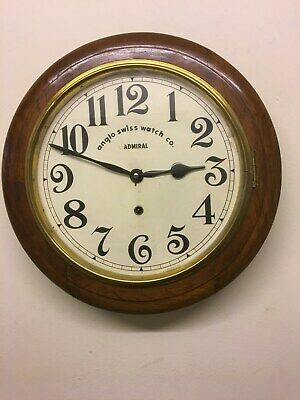 Antique Anglo Swiss Watch Co - Admiral model. Station /School wall clock - Works