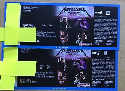 2 Metallica Karten Tickets Köln 13.6.2019 Worldwired Tour Ausverkauft Nordtribün
