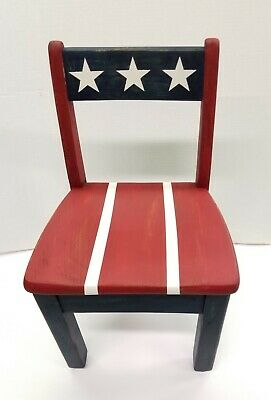 Patriotic Shabby Chic Child's Solid Wood Chair  Americana Decor