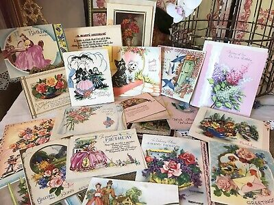 Collection of Vintage 1930s -1950s Used Birthday Cards for Scrap Book / Ephemera