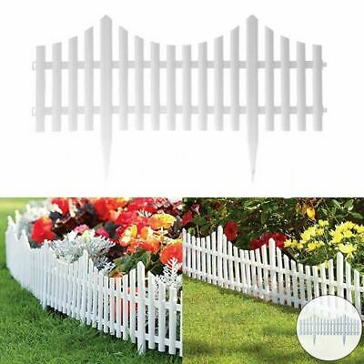 4 White Plastic Wooden Effect Lawn Border Edge Garden Edging Picket Fencing Set