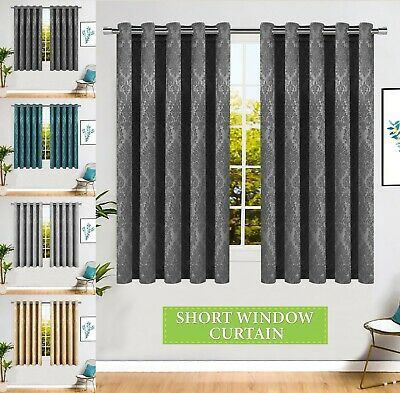 Thermal Insulated Blackout Short Window Curtains Eyelet Ring Top with 2 Tiebacks