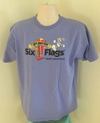 Six Flags Great Adventure 45th Anniversary T Shirt L Large Graphic Tee