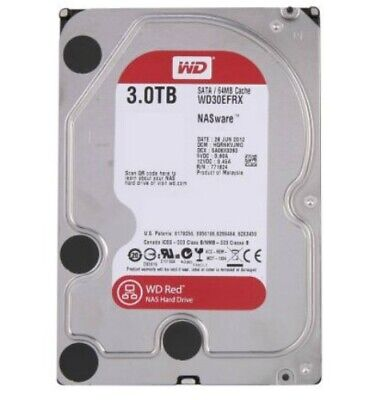 """NEW WD 3TB, WD30EFRX, RED 3.5"""" INTELLIPOWER NAS HARD DRIVE, SATA 6GB/S, 64M.a."""