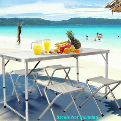 4ft Adjustable Aluminium Folding Portable Camping Table Party BBQ Parasol Carry