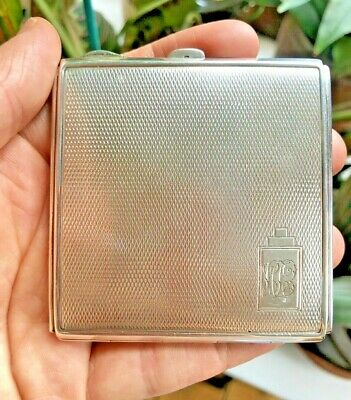 Art Deco 1936 Solid Sterling Silver Compact Case Box English Made Great Conditio