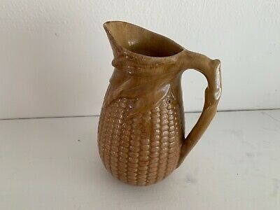 Antique 19th Century English Majolica As An Ear of Corn in Light Brown Glaze