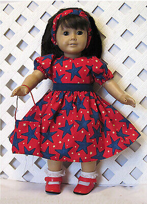 """HANDMADE Doll Clothes fits 18"""" American Girl Doll PATRIOTIC BLUE STAR RED DRESS"""
