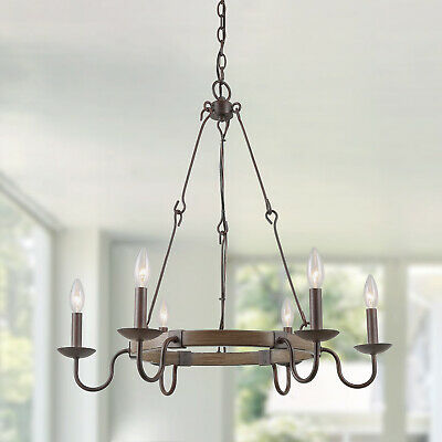 LNC 6-Lights Chandlier Iron Wired Hook Chain French Country Rust Light