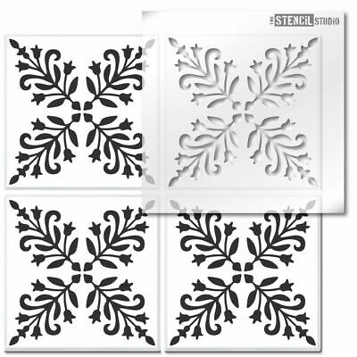 Bessies Block Reusable Tile STENCIL. Floor, wall for painting. Home Decor 10822