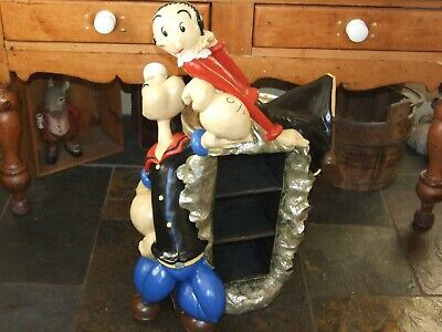 Rare Popeye Holding Olive Oyl on Spinach Can CD Rack Holder