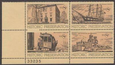 Scott # 1440-1443 - US Plate Block Of 4 - Historic Preservation - MNH - 1971