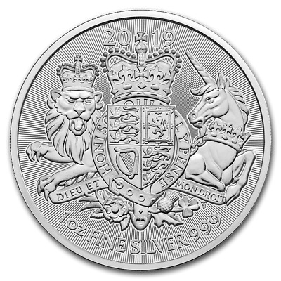 """2019 - United Kingdom 1oz (.999) Silver """"The Royal Arms"""" Coin"""
