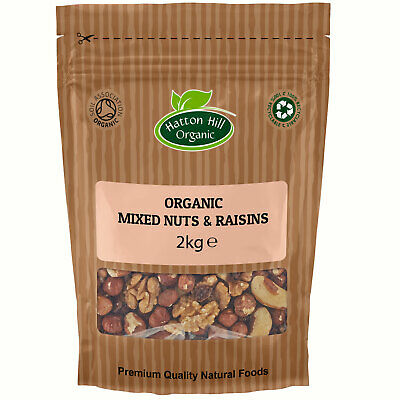 Organic Unsalted Mixed Nuts & Raisins 2kg (Walnuts, Cashew, Raisins, Hazelnuts)