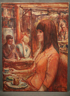 Vintage American Antique Painting Beautiful Young Lady NY Cafe Scene1963