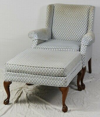 Mahogany Chippendale Style Wing Chairs with Footstool Ottoman w Claw & Ball Feet