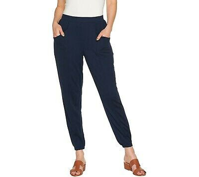 H by Halston Petite Ankle Length Jogger Pants with Seam Detail Navy PXS Size QVC