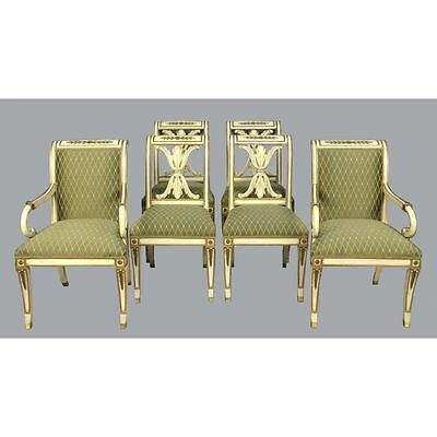 Six Antique Painted Neo-Classical Sabre Leg Dining Chairs, manner Maison Jansen