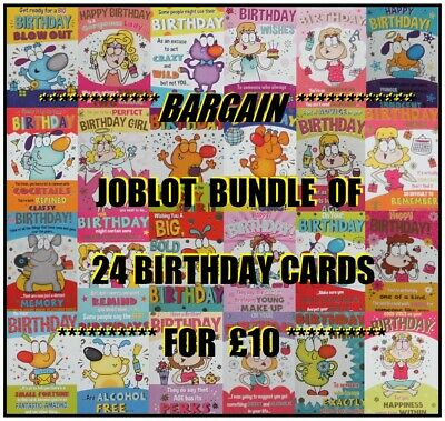 Quality Humorous Funny Birthday/Greetings Cards Job Lot 24 Designs Wholesale