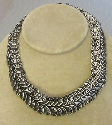important midcentury MODERNIST STERLING COLLAR NECKLACE artisan silver wirework