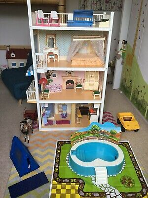 Vintage Sindy Dolls House, with Furniture, Car, Swimming Pool, Horse & Cart &...