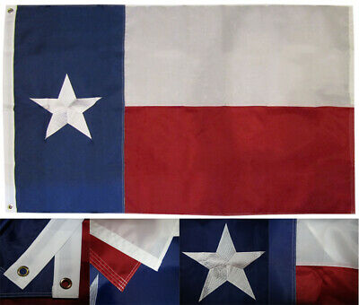 3x5 State of Texas (Fully Emb Star) 3'x5' 210D Nylon Embroidered Flag (RUF)