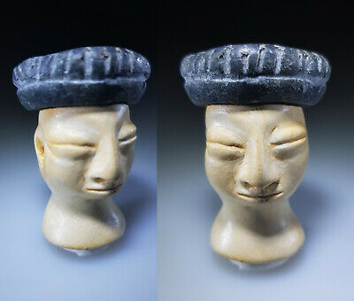 Bactrian Stone Head & Cap from Idol or Princess, Circa 3rd - 2nd Millennium BC